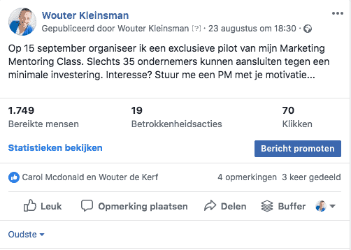Facebook adverteren - bericht boosten