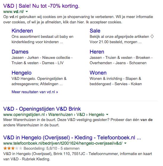 Organische zoekresultaten Google