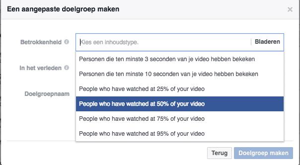 Facebook advertentie doelgroepenlijst video bekeken