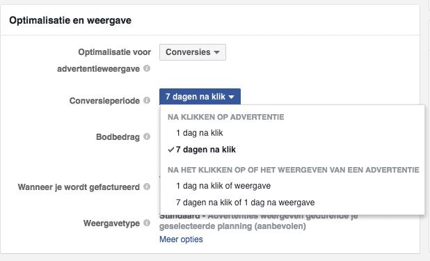 Facebook conversie periode