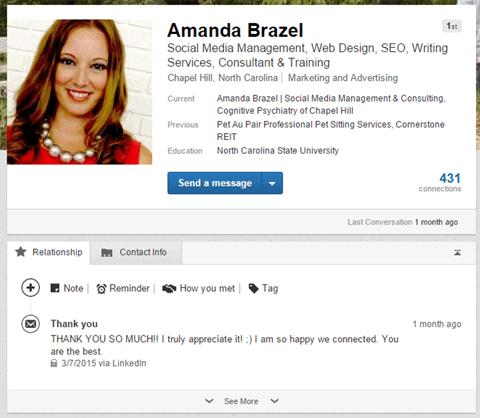Linkedin Relationship tab directe berichten
