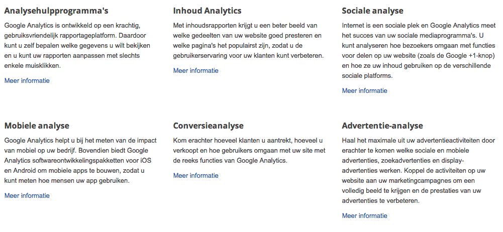 Google analytics functies