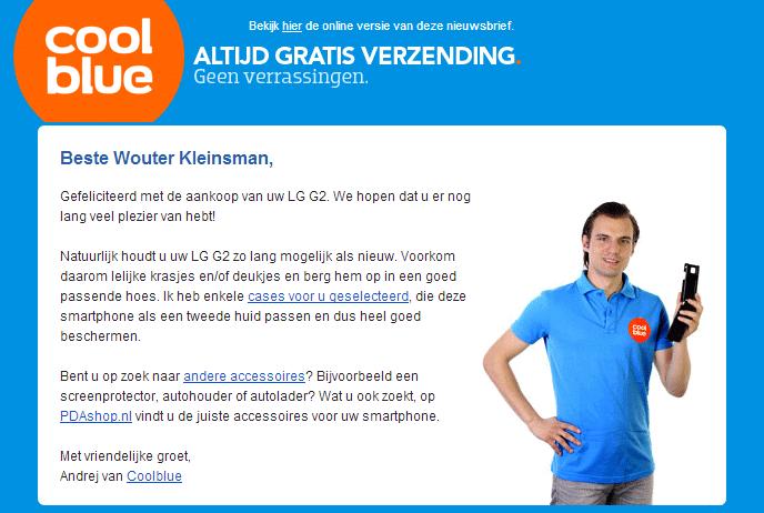 Coolblue en hun  e-mail marketing techniek mailing 1