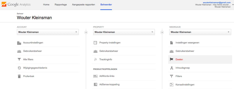 opzetten van google adwords doelen via google analytics