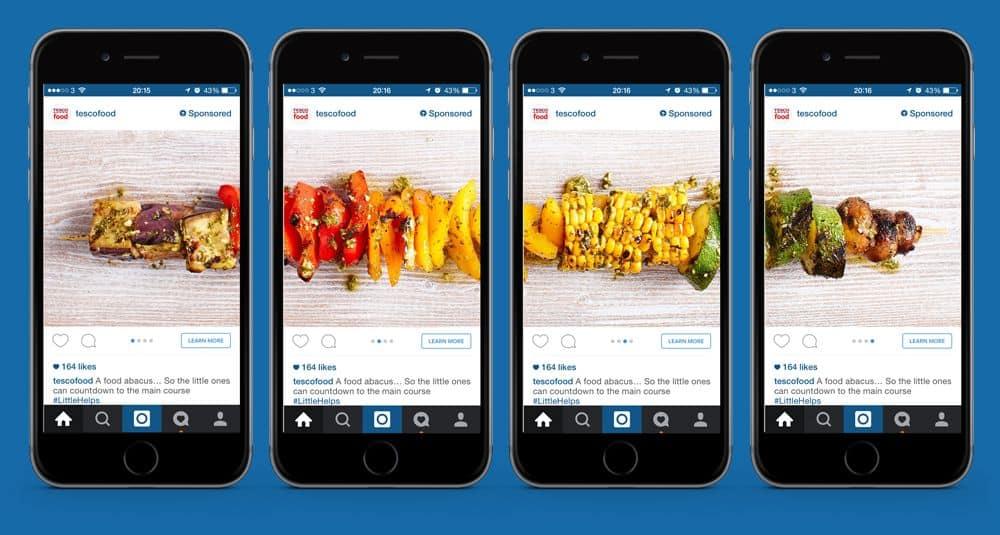 tesco instagram advertentie carousel bedrijven